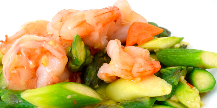 Stir Fried Prawns With Asparagus In Garlic Sauce from Quayside Seafood Restaurant in Clarke Quay, Singapore