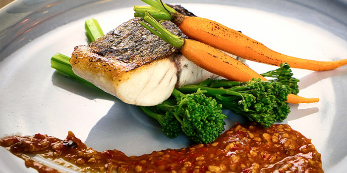 Grilled Barramundi Fish Fillet with Pickled Chilli Suace from Blue Lotus - Chinese Grill House at Tanjong Pagar Centre in Tanjong Pagar, Singapore