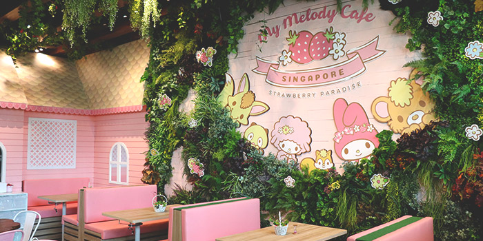 Interior of My Melody Cafe Singapore at Suntec City Mall in Promenade, Singapore