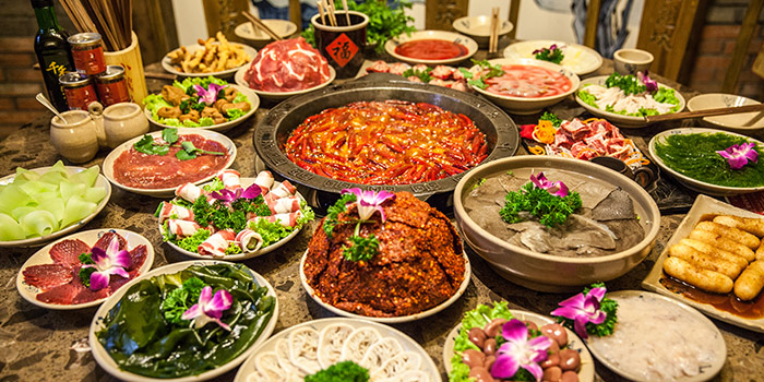 Food Spread from Xiao Long Kan Hotpot (Bugis) at Bugis Junction in Bugis, Singapore