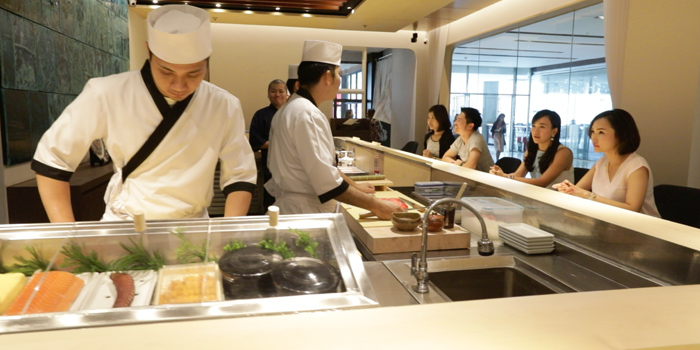 Chef in Action of Sushi Cyu at CENTRAL WORLD 3rd Floor, Atrium Zone 999/9 Rama 1 Road Patumwan, Bangkok