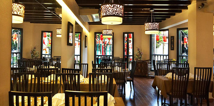 Interior of Eight Treasures Vegetarian Restaurant in Chinatown, Singapore