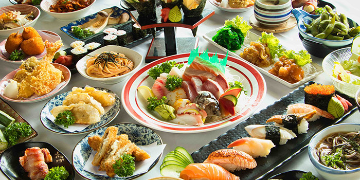 Buffet Spread from Mitsuba Japanese Restaurant in Clarke Quay, Singapore