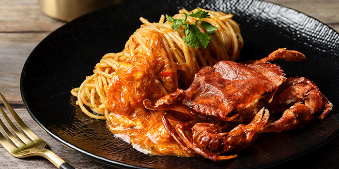 Chilli Crab Pasta from Se7enth at OUE Downtown 1 in Tanjong Pagar, Singapore