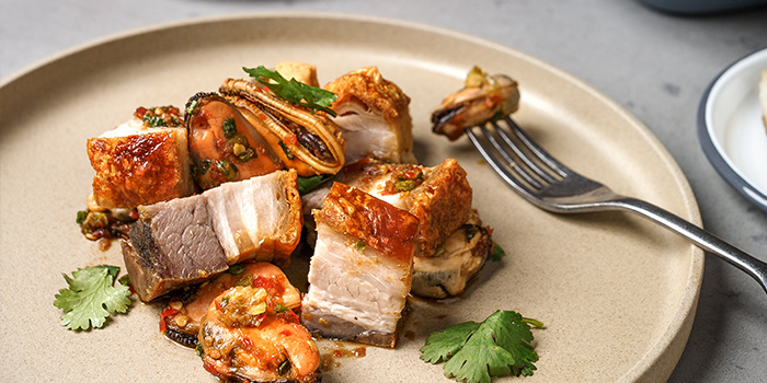 Crispy Pork Belly & Chilled Mussels from alittle tashi in Jalan Besar, Singapore