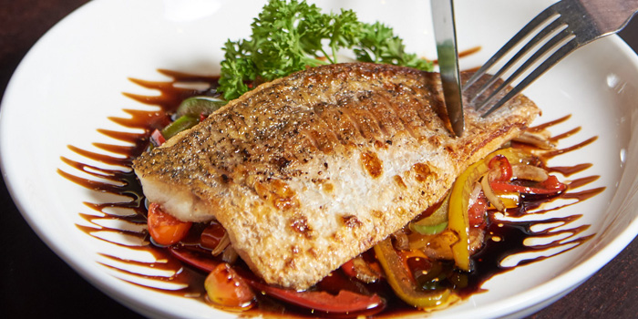 Grilled Seabass from Why Here Bar & Bistro at 1839/9 Phaholyothin Rd. Ladyao, Chatuchak Bangkok