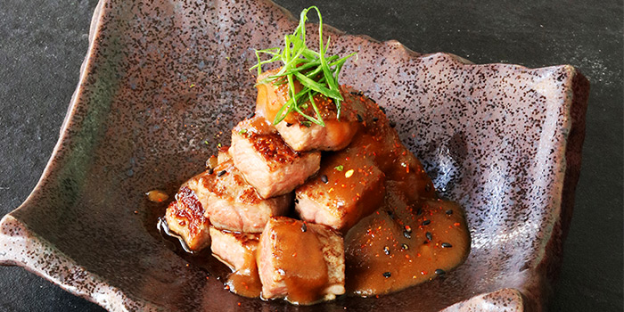 Beef Cubes with Goose Liver Sauce from Bao Makers in Chinatown, Singapore