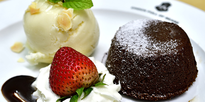 Lava Cake with Ice Cream from Chock Full of Beans in Changi, Singapore