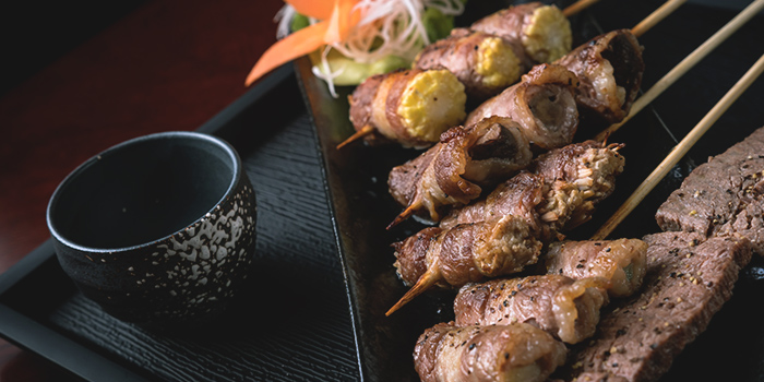 Assorted Beef Yakitori from Q-WA Izakaya at Marrison Hotel Lobby in Bugis, Singapore