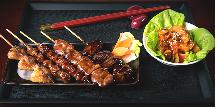 Chicken Viscera Yakitori Set from Q-WA Izakaya at Marrison Hotel Lobby in Bugis, Singapore