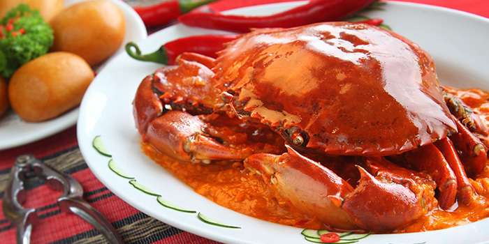 Chili Crab from Sky Lounge at Peninsula Excelsior Hotel in City Hall, Singapore