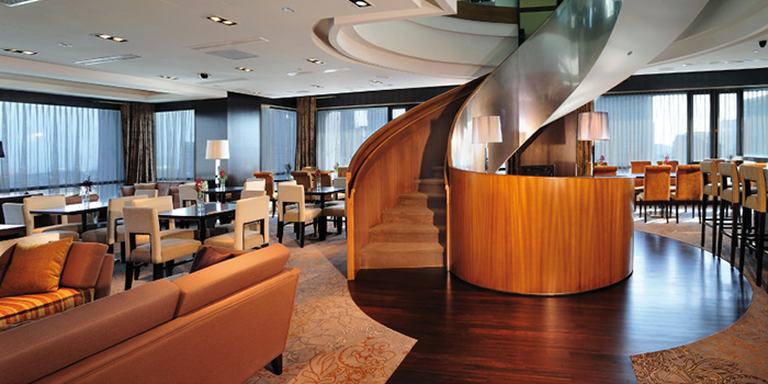 Interior of Sky Lounge at Peninsula Excelsior Hotel in City Hall, Singapore