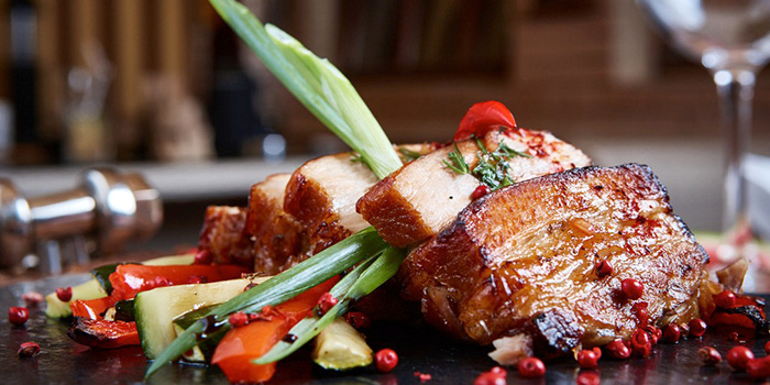 Roasted Pork from Sky Lounge at Peninsula Excelsior Hotel in City Hall, Singapore