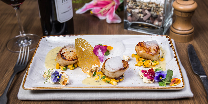 Pan Seared Hokkaido Scallops from The RANCH Steakhouse By ASTONS on River Valley Road in Clarke Quay, Singapore