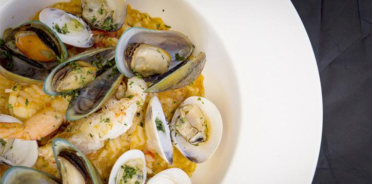 Seafood-Risotto from Climax Poolside Bar & Grill in Patong, Phuket, Thailand.