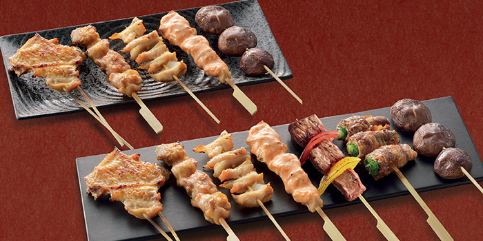 Chicken & Mushroom Skewers Platter & Assorted Skewers Platter (Chicken, Beef & Mushroom) from Watami (The Star Vista) in Buona Vista, Singapore