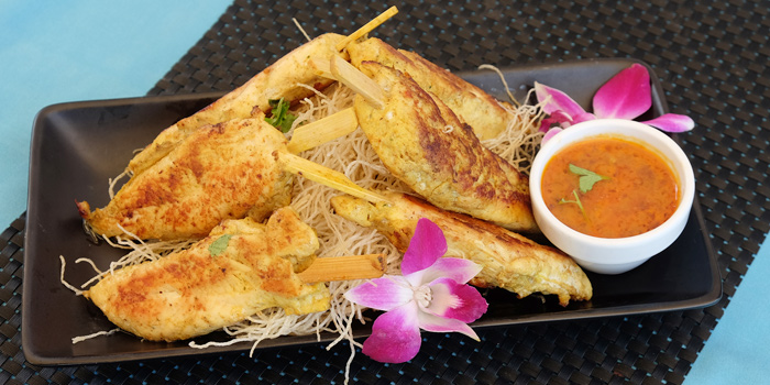 Chicken-Satay from Climax Poolside Bar & Grill in Patong, Phuket, Thailand.