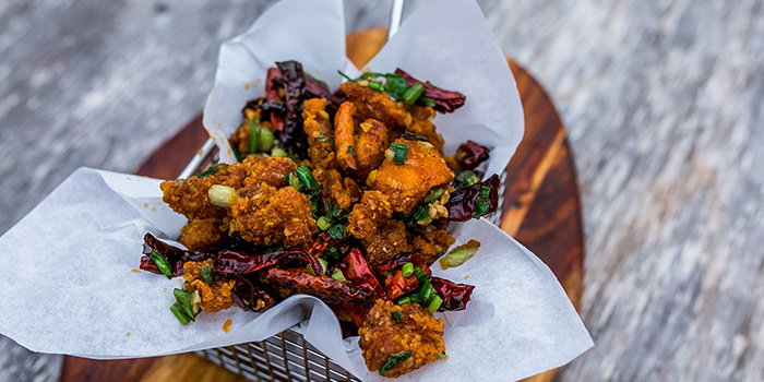 Crispy Chicken, Sichuan Peppercorn, Spring Onions, Dry Chili from Catchfly in Chinatown, Singapore