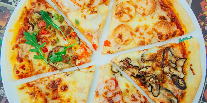 Pizza from DC Super Heroes Cafe (Marina Bay Sands) at The Shoppes at Marina Bay Sands in Marina Bay, Singapore