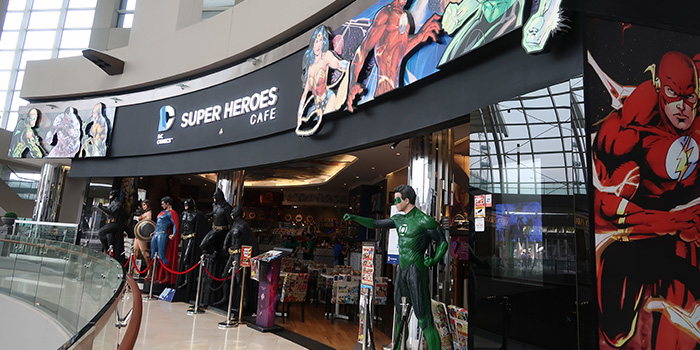 Exterior of DC Super Heroes Cafe (Marina Bay Sands) at The Shoppes at Marina Bay Sands in Marina Bay, Singapore