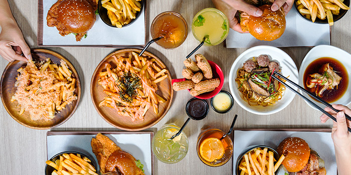 Food Spread from GRUB Burger + Noodle Bar (Balestier) at HomeTeamNS-JOM in Balestier, Singapore