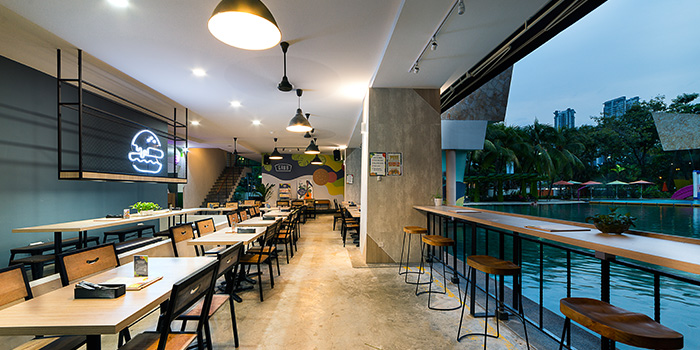 Interior of GRUB Burger + Noodle Bar at HomeTeamNS-JOM in Balestier, Singapore