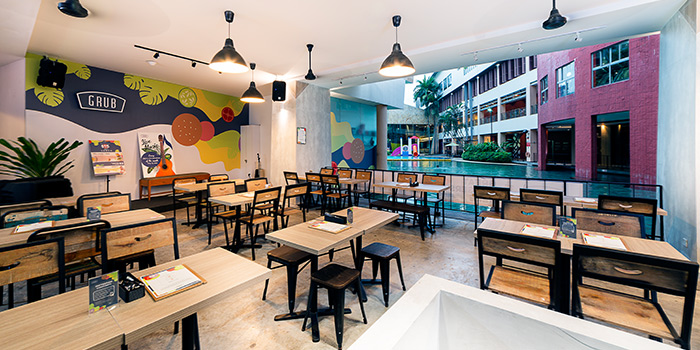 Main Dining Area of GRUB Burger + Noodle Bar (Balestier) at HomeTeamNS-JOM in Balestier, Singapore