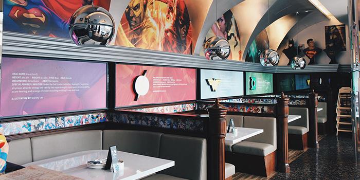 Interior of DC Super Heroes Cafe (Marina Bay Sands) at The Shoppes at Marina Bay Sands in Marina Bay, Singapore