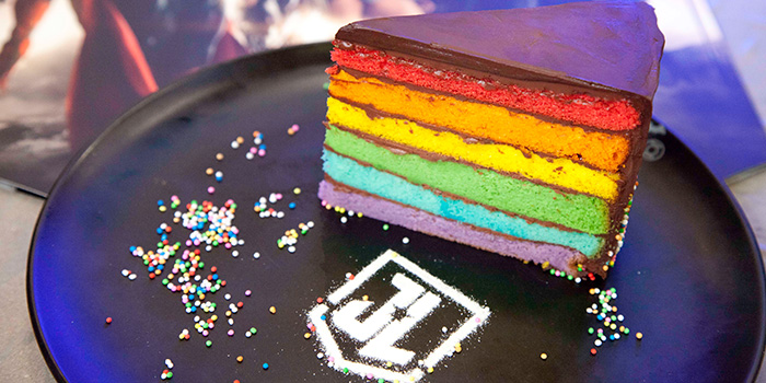 Justice League Chocolate Rainbow Cake from DC Super Heroes Cafe (Marina Bay Sands) at The Shoppes at Marina Bay Sands in Marina Bay, Singapore
