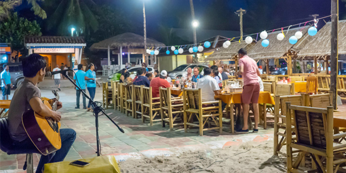 Outdoor-Dining of Golden Fish Restaurant & Bar in Bangtao Beach, Phuket, Thailand