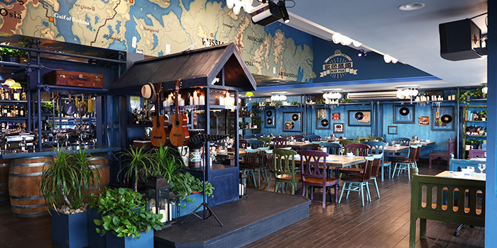 Seating Area of Blue Pier at East Coast Seafood Centre in East Coast, Singapore