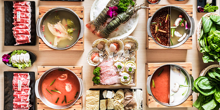 Food Spread from City Hot Pot Shabu Shabu at One Raffles Place in Raffles Place, Singapore