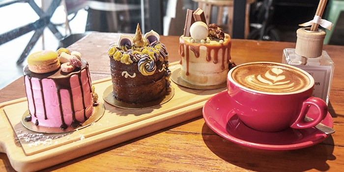 Cakes and Coffee from Cranky Cats x Hatter Street Crawford in Lavender, Singapore