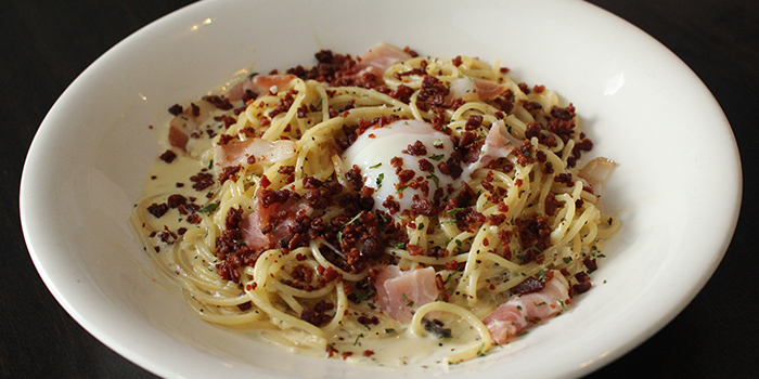 Bacon Carbonara with Sous Vide Egg from MEDZS Bistro & Bar at Clifford Centre in Raffles Place, Singapore