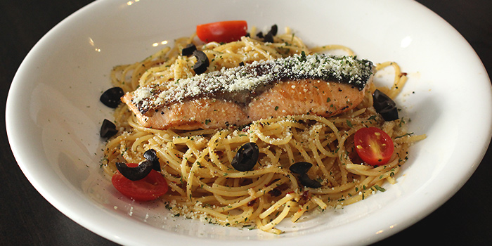 Salmon Aglio Pasta from MEDZS Bistro & Bar at Clifford Centre in Raffles Place, Singapore
