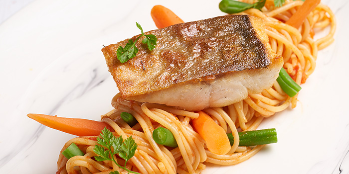 Seared Arctic Char Pasta from Slappy Cakes (Plaza Singapura) in Dhoby Ghaut, Singapore