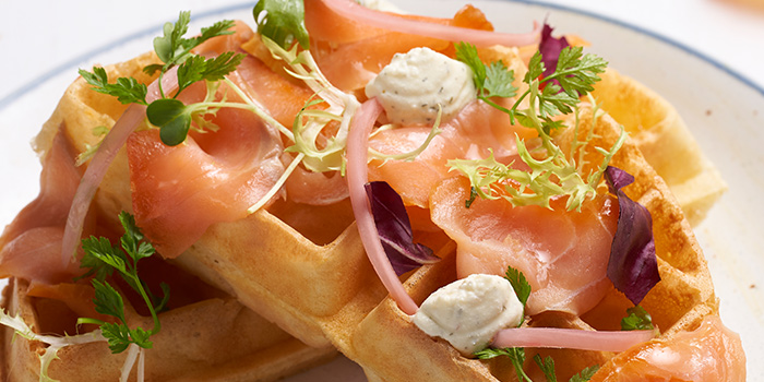 Smoked Trout Waffles from Slappy Cakes (Plaza Singapura) in Dhoby Ghaut, Singapore
