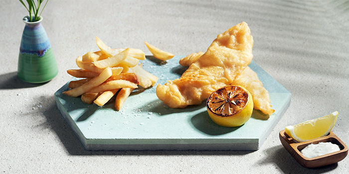 Beer Battered Fish & Chips from Tanjong Beach Club - The Dining Room on Tanjong Beach Walk on Sentosa Island, Singapore