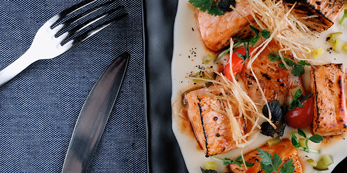 Glazed Salmon Cubes from Timbre @ The Arts House in Raffles Place, Singapore