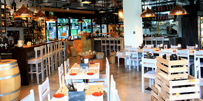 Interior of iO Italian Osteria Singapore at HillV2 in Bukit Timah, Singapore