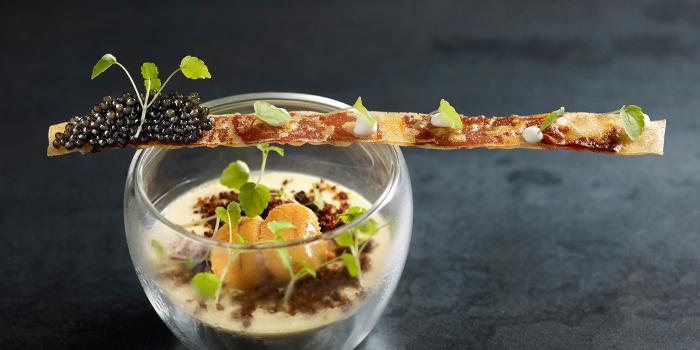 Steamed sea urchin custard, Iberico cracker & Sturia vintage caviar from Stellar at 1-Altitude in Raffles Place, Singapore