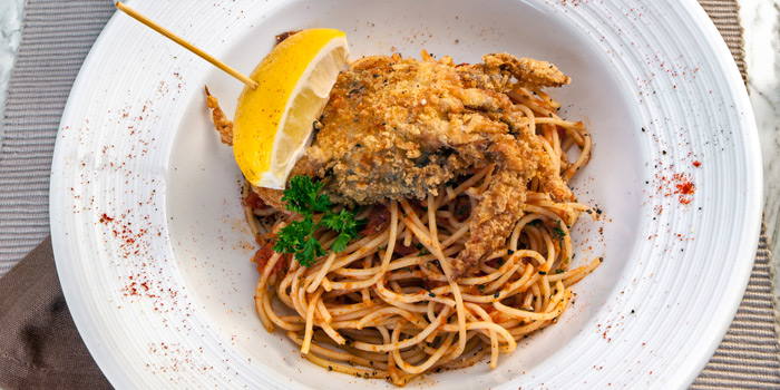Spaghetti Soft Shell Crab from Prime+ Urban Grill Restaurant & Bar at Floor7th, Compass SkyView Hotel 12 Sukhumvit 24 Klongton, Klongtoey Bangkok