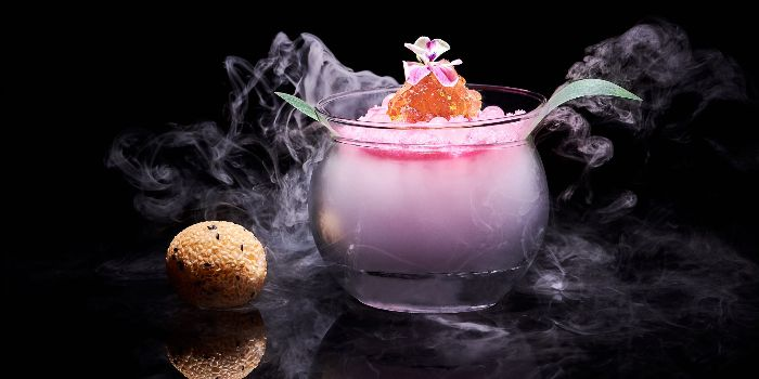 Chilled Peach Resin with Petit Four from Mitzo Restaurant & Bar in Grand Park Orchard along Orchard Road, Singapore