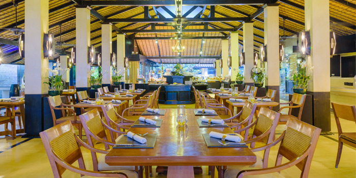 Interior of Sala Bua Beachfront Restaurant in Patong, Phuket, Thailand.