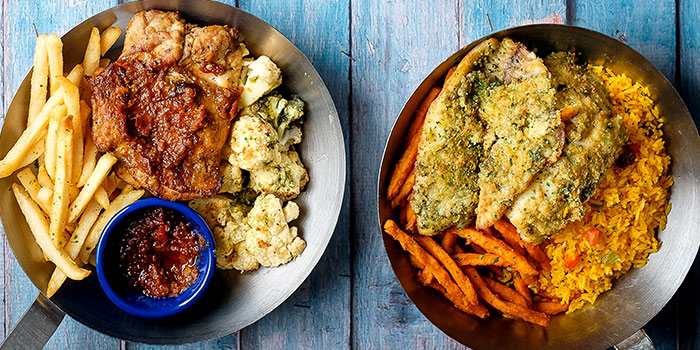 Lemon Butter White Fish and Grilled Peri Peri Chicken from Fish & Co. (Changi Airport T2) in Changi, Singapore