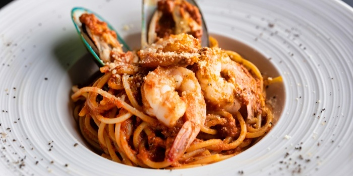 Tomato Based Seafood Pasta from Fusion Kitchen & Bar at The Punggol Settlement in Punggol, Singapore