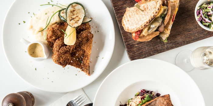 Chivito, Chiken Schnitzel And Atlantic Salmon from Jones the Grocer in Dempsey, Singapore