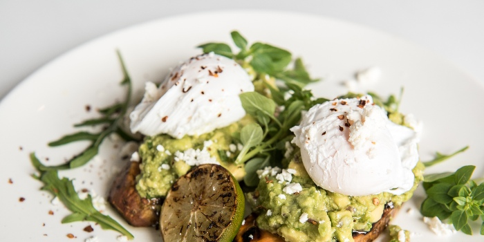 Grilled Sweet Potato And Smashed Avocado Feta And Two Poached Eggs from Jones the Grocer in Dempsey, Singapore
