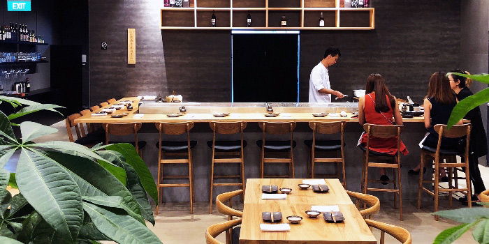 Interior of Jun Omakase in Raffles Place, Singapore