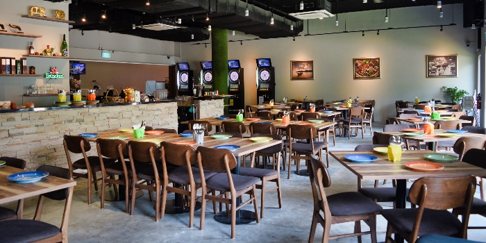 Interior of Mooks Thai Bistro at Hometeam NS Clubhouse in Bukit Batok, Singapore